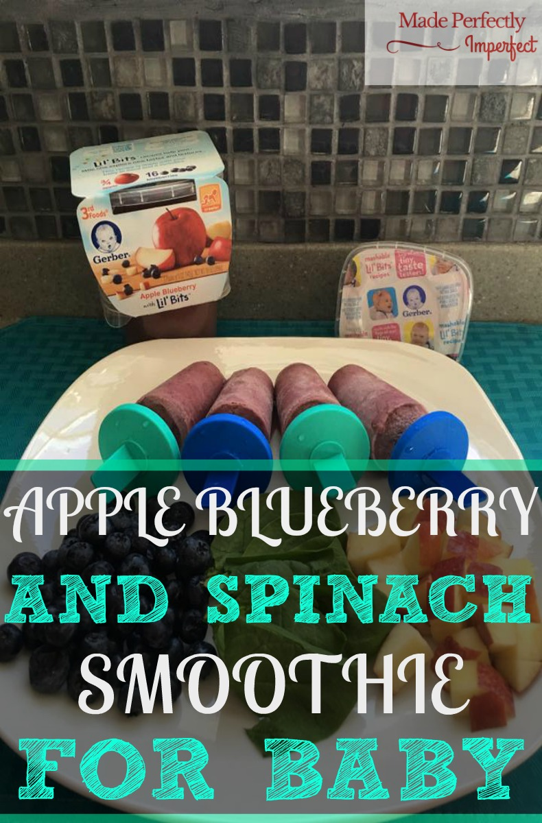 Apple blueberry and spinach fruit smoothies for baby This is a delicious recipe for baby introducing little bits of fruit and a perfect way to sneak in some veggies. This was an awesome smoothie, even mom liked it! The teething baby enjoyed it as well!