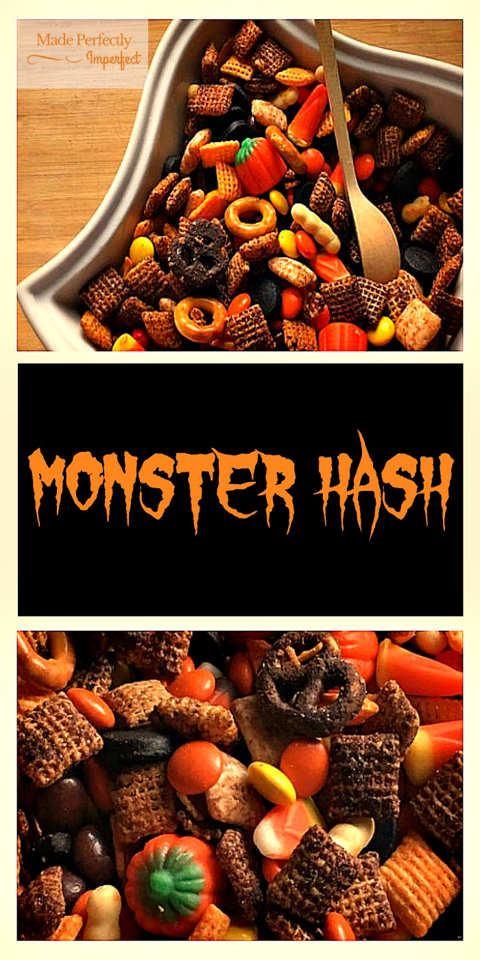 Monster Hash Oh my gosh!!!! This is a perfect combination of sweet and salty. Was a perfect dish at our Halloween Birthday Party. So easy to make!